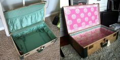 Vintage Suitcase {Tuesday Tutorial redo suitcase lining. uses fabric, cardboard, and hot glue. does require sewing for a more polished look.redo suitcase lining. uses fabric, cardboard, and hot glue. does require sewing for a more polished look. Cute Suitcases, Vintage Suitcases, Vintage Luggage, Refurbished Phones, Vintage Train Case, Decopage, Suitcase Packing, Built In Shelves, Decoration