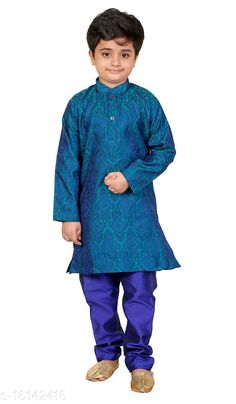Kurta Sets Vesh Cotton Kurta Pajama Set for Boys Kids Top Fabric: Cotton Bottom Fabric: Dupion Silk Sleeve Length: Long Sleeves Bottom Type: pyjamas Top Pattern: Embellished Multipack: 1 Sizes:  4-5 Years (Top Bust Size: 26 in, Top Length Size: 24 in, Bottom Waist Size: 22 in, Bottom Length Size: 22 in)  5-6 Years (Top Bust Size: 27 in, Top Length Size: 26 in, Bottom Waist Size: 23 in, Bottom Length Size: 23 in)  3-4 Years (Top Bust Size: 25 in, Top Length Size: 22 in, Bottom Waist Size: 22 in, Bottom Length Size: 21 in)  8-9 Years (Top Bust Size: 32 in, Top Length Size: 32 in, Bottom Waist Size: 28 in, Bottom Length Size: 28 in)  6-7 Years (Top Bust Size: 28 in, Top Length Size: 28 in, Bottom Waist Size: 24 in, Bottom Length Size: 24 in)  7-8 Years (Top Bust Size: 30 in, Top Length Size: 30 in, Bottom Waist Size: 26 in, Bottom Length Size: 26 in)  9-10 Years (Top Bust Size: 34 in, Top Length Size: 34 in, Bottom Waist Size: 30 in, Bottom Length Size: 30 in)  2-3 Years (Top Bust Size: 24 in, Top Length Size: 20 in, Bottom Waist Size: 22 in, Bottom Length Size: 20 in)  Country of Origin: India Sizes Available: 2-3 Years, 3-4 Years, 4-5 Years, 5-6 Years, 6-7 Years, 7-8 Years, 0-3 Months, 8-9 Years, 9-10 Years   Catalog Rating: ★4 (813)  Catalog Name: Pretty Funky Kids Boys Kurta Sets CatalogID_3209445 C58-SC1170 Code: 313-16142416-057
