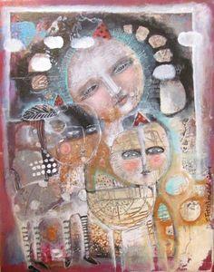 Mixed Media Painting Original Modern Folk Art  by kittyjujube, $200.00