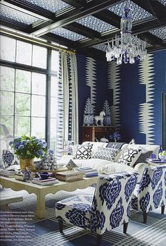Love the blue! Interior Exterior, Home Interior, Kitchen Interior, Living Room Decor, Living Spaces, Dining Room, Living Area, Bedroom Decor, Master Bedroom