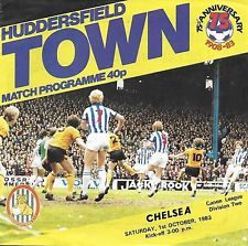 Huddersfield Town 2 Chelsea 3 in Nov 1983 at Leeds Road. The programme cover #Div2