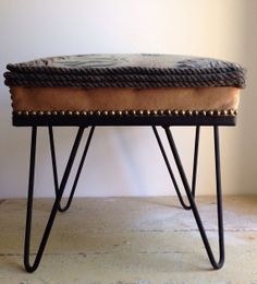 Mid Century Barkcloth Footstool by thesouthernfarmhouse on Etsy, $78.00