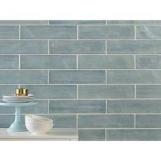 Seaside Polished Ceramic Tile - 4 x 16 - 100467729 Polished Porcelain Tiles, Porcelain Ceramics, Ceramic Tile Bathrooms, Blue Bathrooms, Bathroom Tiling, Beach Bathrooms, Bathroom Wall, Blue Glass Tile, Kitchen Flooring