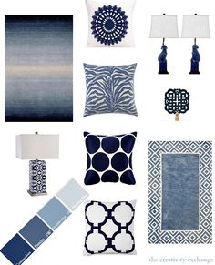 Decorating with Shades of Indigo {The Creativity Exchange} #Home #Decorating #Inspiration #Pillows #Lamps #Mirrors