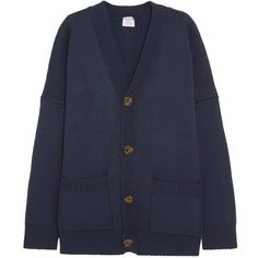 Vetements Oversized wool-blend cardigan (€1.880) ❤ liked on Polyvore featuring tops, cardigans, jackets, vetements, navy cardigans, long sleeve cardigan, navy top, navy blue top and textured cardigan