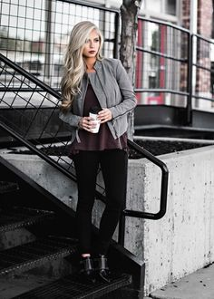 Gray jacket + thermal burgundy top + black skinny jeans + black studded pointed toe shoes