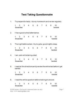 Study Skills: In this 23 page study skills unit, you will receive ideas for: Helping students deal with test anxiety; What to do before, during and after the test; Test taking do's and don'ts; Test taking questionnaire; Test question strategies; and Several study skill sheets which are great printables to help students prepare for the next test!