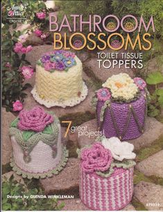 Bathroom Blossoms Book 7 Toilet Tissue Toppers Crochet Patterns Annie's Attic for sale online Crochet Kitchen, Crochet Home, Love Crochet, Crochet Gifts, Crochet Flowers, Knit Crochet, Craft Patterns, Sewing Patterns, Crochet Patterns