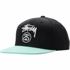 Give your noggin that style upgrade for spring break with the Stussy Stock Lock black and mint snapback ballcap. This hat comes in a crisp all black colorway and features a vibrant mint blue bill, white embroidered Stussy logos at the front and back, and