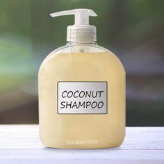 #DIY Coconut milk #shampoo – Dry hair shampoo:      1/4 cup coconut milk     1/3 cup Liquid Castile soap     Vitamin E oil- 1/2 teaspoon     Essential oil- 20 drops  Mix all the ingredients in an old shampoo bottle and mix well. That's it and your shampoo is ready to use.