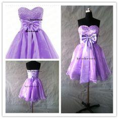 New Prom Dresses Custom Strapless Short Purple Prom by Katedresses, $88.00