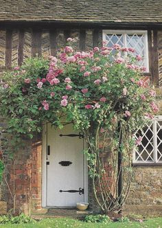 La Maison Reid: Victoria Magazine: The Early Days Rose-covered English Cottage Cottage Door, Rose Cottage, Cottage Living, Garden Cottage, Cottage Style, Cottage Exterior, English Country Cottages, English Country Gardens, English Countryside