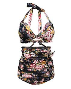 d7db940b28 Women Retro vintage Plus Size swimming costume geometric Flamingo Print  Halter High Waist Bikini Swimsuit bathers bathing suits