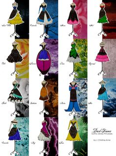 a collection of Gothic Cocktail based on Disney's famous female characters. (All hand illustrated and hand rendered) Gothic Disney Princesses, Disney Princess Outfits, Disney Outfits, Dark Disney, Disney Magic, Disney Art, Dark Princess, Princess Style, Disney Style