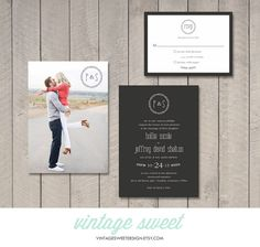 Modern Wedding Invitation & RSVP Card (Printable DIY) by Vintage Sweet Design On Etsy {$20.00} vintagesweetdesign.etsy.com
