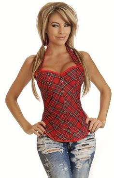 Daisy Corsets Red Plaid Halter Corset Top & ripped jeans is my thing ;)