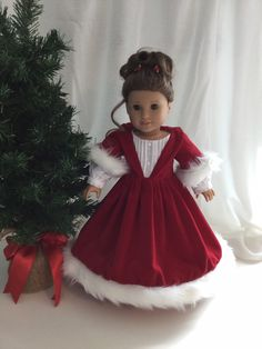 Red American girl doll white Christmas gown by StitchintimeUS on Etsy www.c… - American Girl Dolls American Girl Outfits, American Girl Dress, American Doll Clothes, American Girls, Sewing Doll Clothes, Girl Doll Clothes, Doll Clothes Patterns, Girl Dolls, Doll Patterns