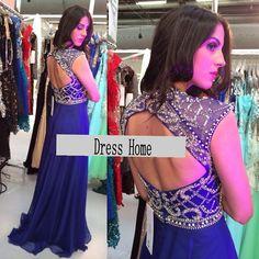 2014 Long Blue Prom Dress Cheap Open Back Prom Dress by DressHome