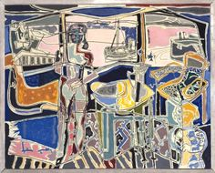 """surrealismart: """" Harbour Window with Two Figures, St Ives: July 1950 1950 Patrick Heron """" Abstract Expressionism, Abstract Art, Abstract Painters, Patrick Heron, Tate Gallery, Gallery Wall, Framed Canvas Prints, Grand Palais, St Ives"""