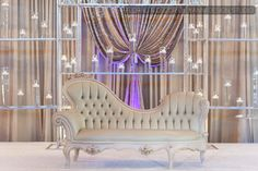 Tan colored royal sofa for Indian and Muslim wedding ceremonies and receptions at Bobak's Signature Events and Conference Center.