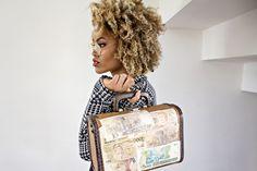 honey blond curls + fabulous bag