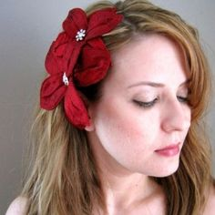 bride red headbands   ROYAL Ruby Red Silk Dupioni Lily Headband Fascinator