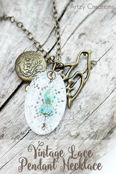 DIY Lace Pendant Necklace by Artzy Creations