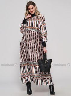 56c29c9ef3e Khaki - Terra Cotta - Multi - Unlined - Polo neck - Plus Size Dress