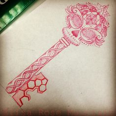 I not sold on the whole design, but I love to idea of a skeleton key with a sugar skull top.