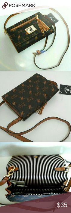 🔥BeverlyHills~PoloClub~Crossbody🔥 ◇~Beverly Hills~Polo Club~Brown Crossbody Purse~ NWT~{New With Tag}~Excellent Condition!~◇ Polo by Ralph Lauren Bags Crossbody Bags