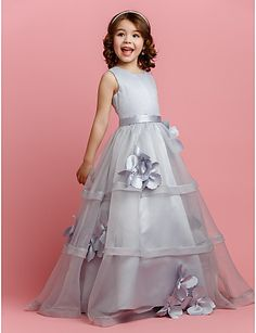 A-line Jewel Floor-length Organza And Satin Flower Girl Dress  $59.99