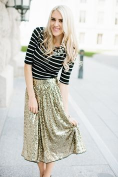 Sequin A-Line Swing Skirt. If this skirt is restocked in my size (small) by Christmas, I LOVE THE SPARKLESSSSSS.