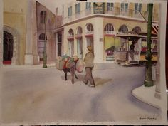 A man selling vegetables with his donkey, LIsbon in the old days, watercolour by Vanessa Azevedo
