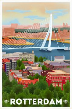 Travelposter of Rotterdam - Overview Sparta Rotterdam, Vintage Travel Posters, Poster Vintage, Skyline Art, Art Deco Posters, Travel Illustration, World Cities, City Art, Cool Places To Visit