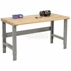 """72 X 30 Ash Work Bench- Adjustable Height - 1 3/4"""" Top by GLOBAL INDUSTRIAL EQUIP.. $216.95. Safety Edge Workbench Global workbenches are built to withstand years of heavy duty use. Ergonomically designed Safety Edge rolled front has no hard edge to damage parts or dig in when you lean against the bench. Ash butcher block top is kiln dried, sanded smooth and finished with a penetrating oil protectant. 1-3/4"""" thick top has a rounded front safety edge to protect workers. Fro..."""