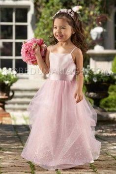 Rose bretelles fines fleur robe de cortège en satin  organza