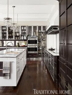 Stainless Steel And Dark Cabinets Mick De Giulio Design / Traditional Home ® / Photo: Werner Straube