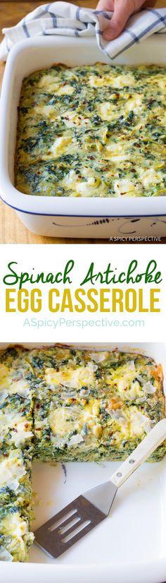 Savory Spinach Artichoke Egg Casserole (Low Carb, Vegetarian & Gluten Free!)   http://ASpicyPerspective.com
