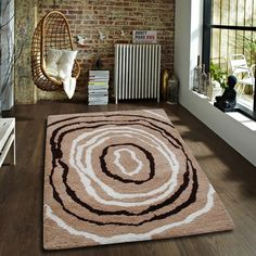 Designer Polyester Carpet-SEN-HBF-P-Scroll-Beige