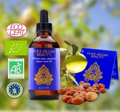 Argan Oil 100% Pure Cold Pressed Virgin Organic for your Skin, Hair & Nails by PURE ARGAN BEAUTY; 2Fl Oz 60ml