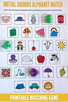 Sounds Alphabet Matching Game Initial Sounds Alphabet Matching Game - free printable for preschool, kindergarten and first Grade.Initial Sounds Alphabet Matching Game - free printable for preschool, kindergarten and first Grade. Kindergarten Centers, Kindergarten Reading, Preschool Kindergarten, Preschool Learning, Alphabet Games For Kindergarten, Beginning Sounds Kindergarten, Letter Recognition Kindergarten, Phonemic Awareness Kindergarten, Letter Recognition Games