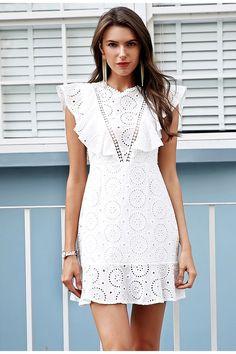 Embroidery Cotton White Dress LAVELIQ