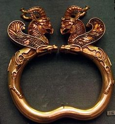 Gold Armlet With Pair Of Griffins  --  6th-5th Centuries BCE  --  Iranian  --  Achaemenid  --  No further reference provided. #Iran #Iranian  #Persia #Persian