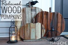 If you are into the wood pallet project craze, you will love these reclaimed wood pumpkins. Get the how to at Infarrantly Creative, and add some junk to your fall decor. Into The Woods, Wood Pumpkins, Fall Pumpkins, Pallet Projects, Diy Projects, Woodworking Projects, Project Ideas, Harvest Decorations, Pumpkin Decorations