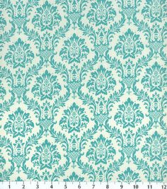 Keepsake Calico Fabric Damask Aqua  Potential for above table and wainscotting in dinning room, to be applied with starch