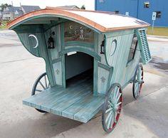 "Old Gypsy Wagon Doghouse with a ""Veranda"" Finish"
