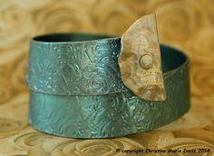 Turquoise JUMBO Smashed Knitting Needle made from #smashedknittingneedles and #smashedbuttons by Christine Marie Davis