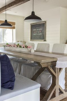 dining room, trestle table