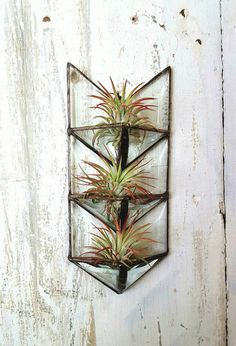 Air Plant Holder.Stained Glass Arrow. by HouseThatCrowBuilt