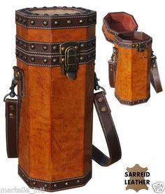 Wood Leather Bottle Caddy Holder Wine Bar Brass Tacks Strap New Free Shipping | eBay